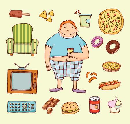 sedentary: Couch potato cartoon. Vector illustration. Illustration