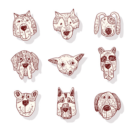 Breed dog collection icon, vector. Çizim