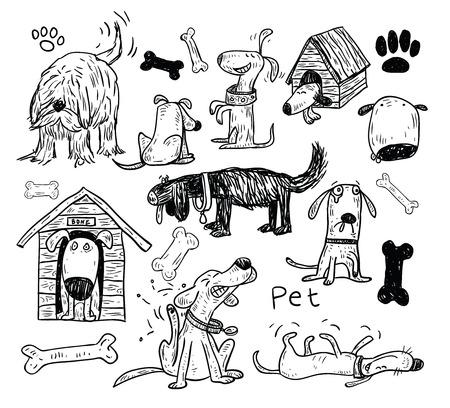 Pet icons doodle set, vector illustration.
