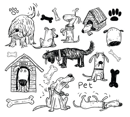 Pet icons doodle set, vector illustration.