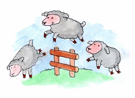 salto de valla: Las ovejas saltando sobre una cerca en un campo cubierto de hierba. Ilustraci�n del vector.