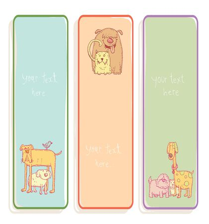 dog pen: Pet Banners and Bookmarks, vector illustration.