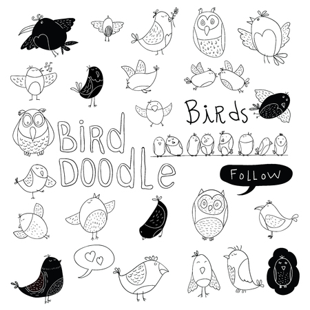 pajaros: El Doodle fijó Bird. ilustración vectorial. Vectores
