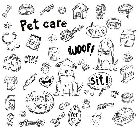 hueso de perro: Iconos Pet Doodle conjunto, ilustración vectorial. Vectores