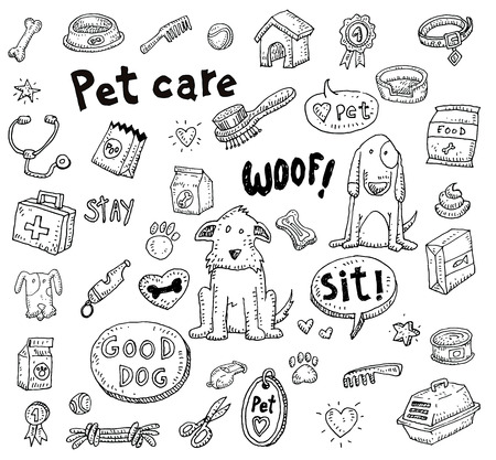 dog paw: Pet icons doodle set, vector illustration.