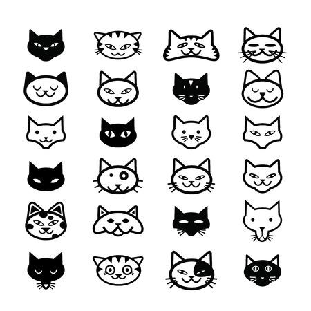Colección de iconos de gato, ilustración