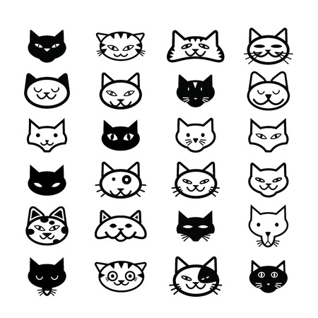 smiling cat: Collection of cat icons, illustration Illustration