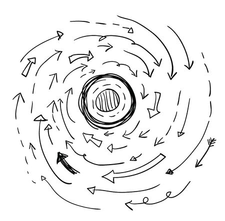 flechas curvas: Flechas vector dibujado a mano, ilustración vectorial.