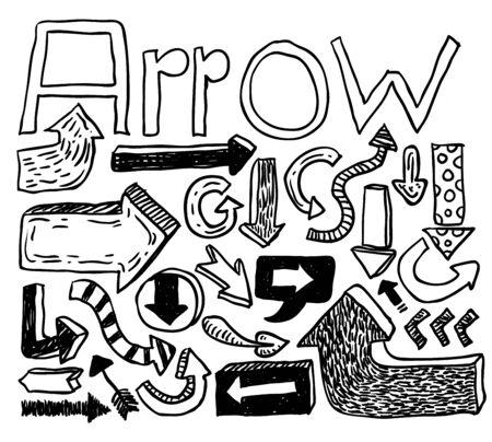 Vector arrows hand drawn, vector illustration.
