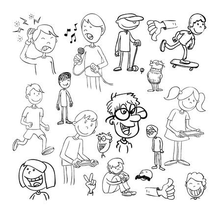 bocetos de personas: conjunto de dibujos animados divertidos, ilustraci�n vectorial.