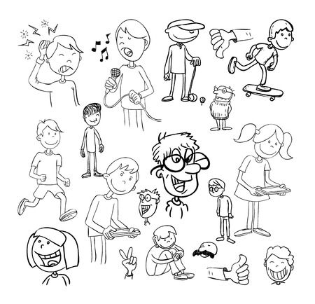 young people fun: set of funny cartoons, Vector illustration.