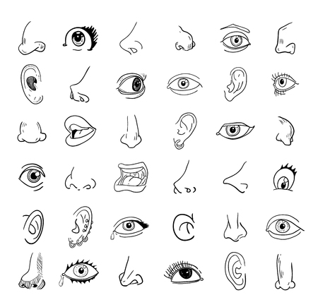 comunicacion oral: ojo oído nariz y la boca de recogida en diferentes expresiones. vector icono ilustración.