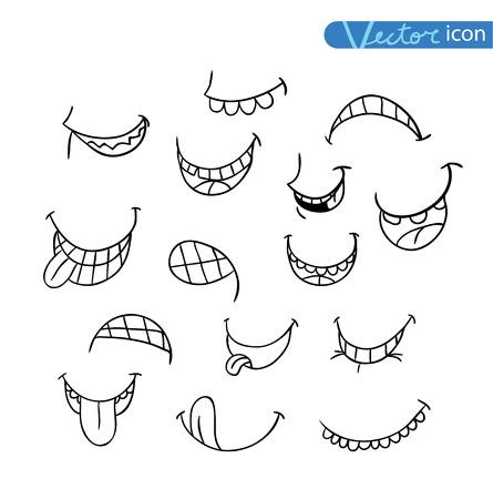expresiones faciales: colección bocas en diferentes expresiones. vector icono ilustración. Vectores