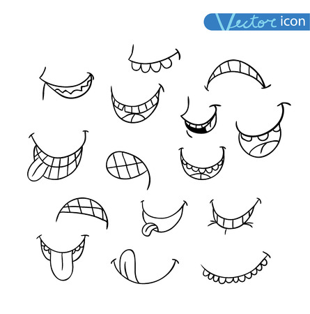 expression: mouths collection in different expressions. vector icon illustration.
