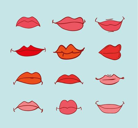 comunicacion oral: colecci�n bocas en diferentes expresiones. vector icono ilustraci�n. Vectores