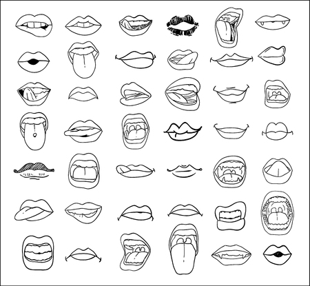 comunicacion oral: colección bocas en diferentes expresiones. vector icono ilustración. Vectores