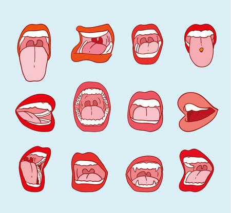 caricatura: colección bocas en diferentes expresiones icónico.