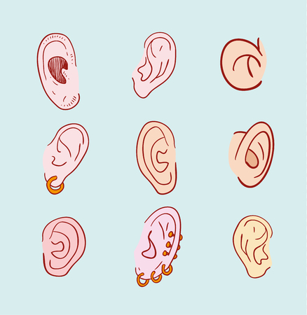 pierced: ears set with pierced icon illustration.