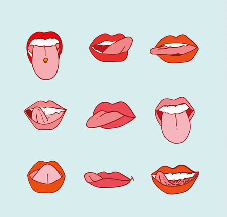 tongues: mouths collection in different expressions icon illustration.