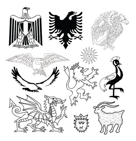 eagle shield and laurel wreath: Coat of arms elements set, vector illustration.