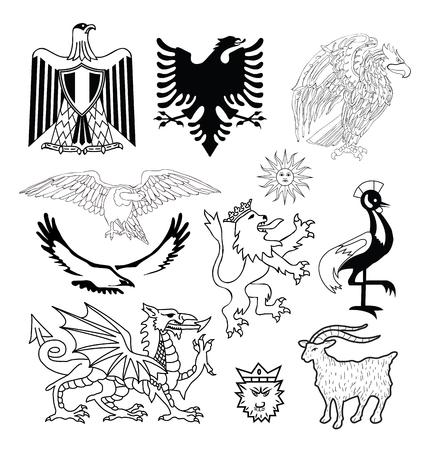 czar: Coat of arms elements set, vector illustration.