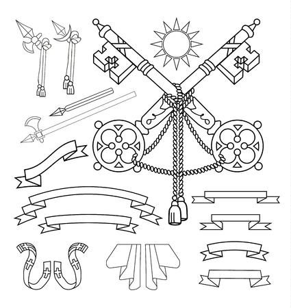 eagle shield and laurel wreath: Coat of arms elements set, vector illustration.