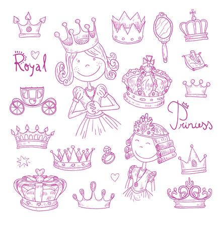 Princess crown set, hand drawn vector.