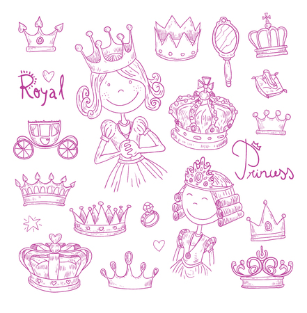 Princess crown set, hand drawn vector.
