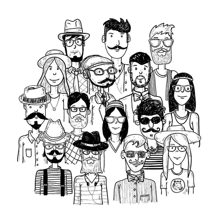 cartoon clothes: Hipster people icon set. vector illustrations.