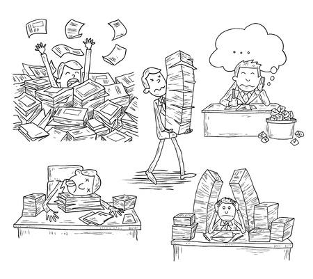 Stressful Businessman man in office, vector illustration.