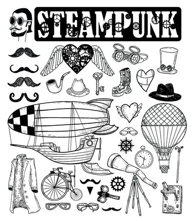 steampunk: Steampunk collection, hand drawn vector illustration.