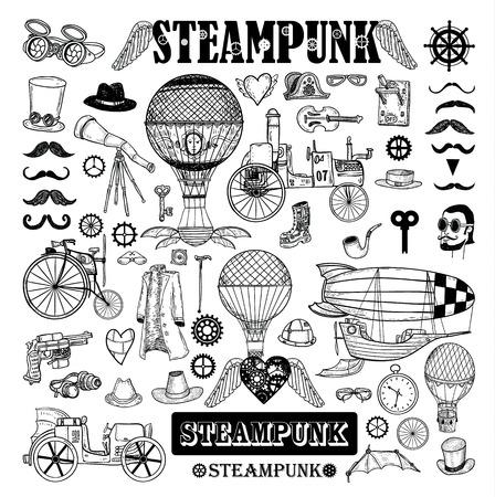 Collezione Steampunk, disegnati a mano illustrazione vettoriale. Archivio Fotografico - 44502693