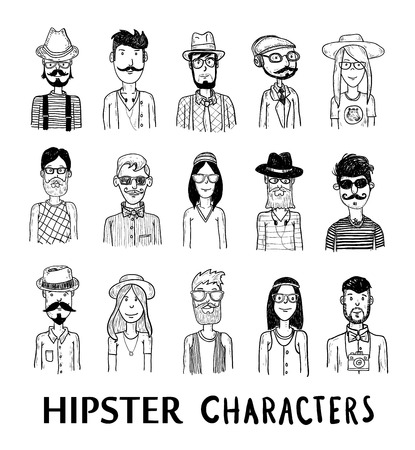 woman tie: Hipster people icon set. vector illustrations.