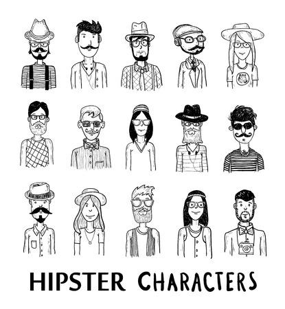 hombre con sombrero: Personas Hipster conjunto de iconos. ilustraciones vectoriales.