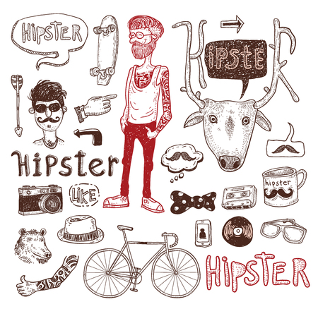 retro hair: Hipster people icon set. vector illustrations.
