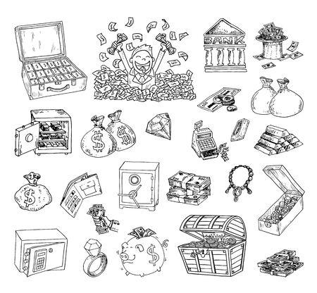 caja fuerte: Doodle conjunto de iconos de dinero, dibujado a mano ilustración.
