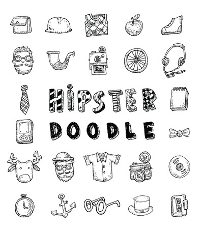tie: Hipster people icon set. vector illustrations.