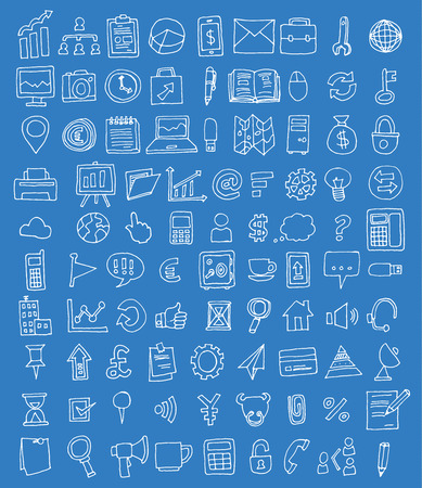 Set of business icons, Hand drawn vector illustration