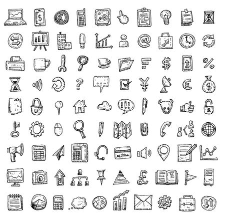 design drawing: Set of business icons, Hand drawn vector illustration