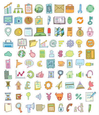 Set di icone di affari, disegnata a mano illustrazione vettoriale Archivio Fotografico - 44502777
