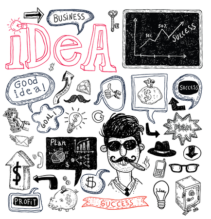 arrow sign: Idea and finance icons doodle set. Hand drawn vector illustration.