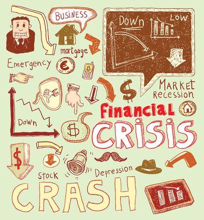 financial emergency: Financial crisis doodle, hand drawn illustration.