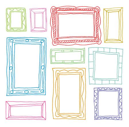 canvas background: Set picture frames, hand drawn illustration. Illustration