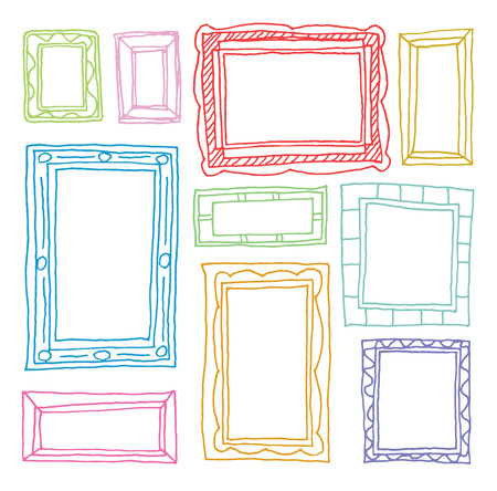 Set picture frames, hand drawn illustration. Illustration