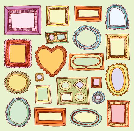 pictures: Set picture frames, hand drawn illustration. Illustration