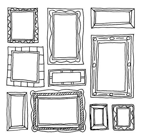 Set picture frames, hand drawn vector illustration. Çizim