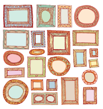 Set picture frames, hand drawn vector illustration. 일러스트
