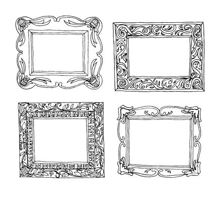 vintage ornament: Set picture frames, hand drawn vector illustration. Illustration