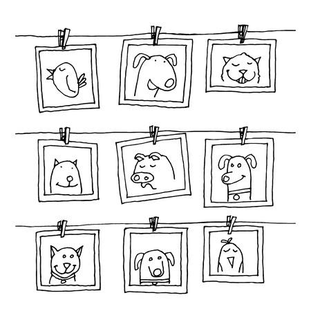 Stel fotolijstjes met dieren portret, met de hand getekende vector illustratie.