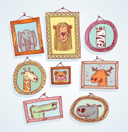 lapiz y papel: Foto Establecer marcos con el retrato de los animales, dibujado a mano ilustraci�n vectorial.